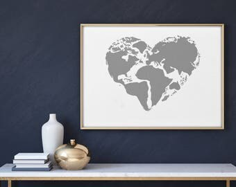 World Art, Printable art, Wall art, Blue heart,  World, Global Love, Love Globally
