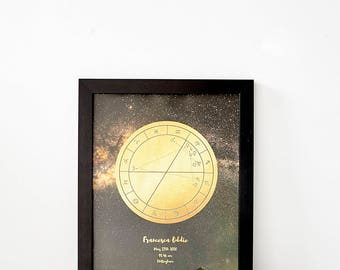The Magic Moment, Framed Personal Horoscope, Custom Star Map, Natal Star Chart Star Map, Horoscope (Unframed Options Available in Shop)