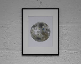Moon Watercolor Illustration- Original Art Print