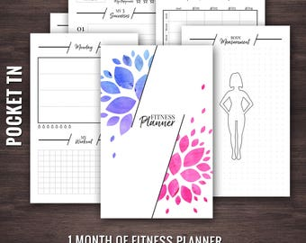 Pocket Size Fitness Planner, Travelers Notebook Fitness Planner, Fitness Planner Pocket Size, Pocket TN Fitness Planner, Pocket TN Inserts