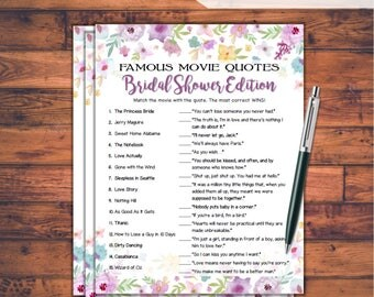 Famous Movie Quotes Match Game Bridal Shower Game - Wild Flowers Theme Printable Movie Quotes Match Game - Bachelorette Party