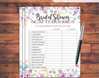 Scattergories Bridal Shower Game / Wild Flowers Theme Printable Bridal Shower Scattergories Game / Bachelorette Night / WFL77