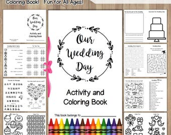 wedding coloring book printable instant download childrens activity book wedding coloring pages favors - Wedding Coloring Books