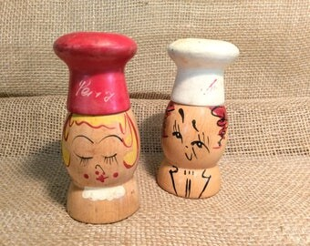"""Vintage Wood Chef Head Salt and Pepper Shakers """"Salty"""" and """"Peppy"""""""