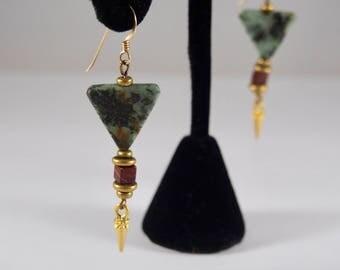 Green Jasper Triangle & Spike Earrings