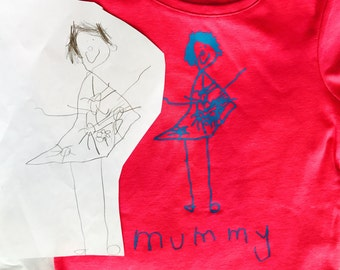 Your child's drawing as an iron on motif