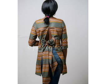 African print top with bow tied at the back / African tops / African blouses / African summer dress / African summer blouse / Ankara blouse