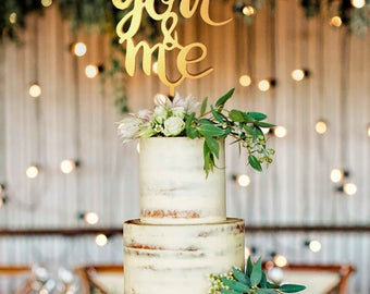 You And Me Topper, Gold Cake Topper, Cake Decoration, Cake Decorations, Me And You, Party Decoration, Party Decor, Bridal Shower Cake Topper