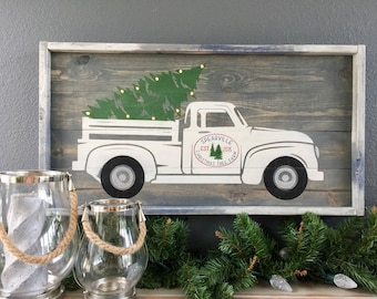 Personalized Christmas Tree Truck With Lights, Wooden Christmas Sign, Vintage Truck Christmas Sign, Vintage Truck With Lighted Tree.