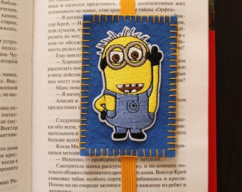Handmade felt bookmark with elastic and Minion applique, bookmark for kids