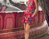 Maarimaia Sleeveless Print RUFFLED Pocket Shift Mini in Red | Ruffled Dress| Oversized Pocket | Print Dress | Beach Dress | Summer Dress |