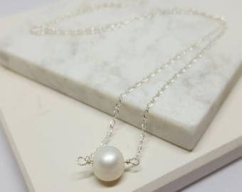 "Single White Pearl Necklace with adjustable sterling silver chain 16.5"" to 18"", Bridesmaid gift, Birthday Gift, Minimalist necklace"
