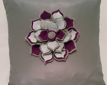 Designer, 3D Handmade Silver, Plum Flower Decorative Luxury Cushion Cover