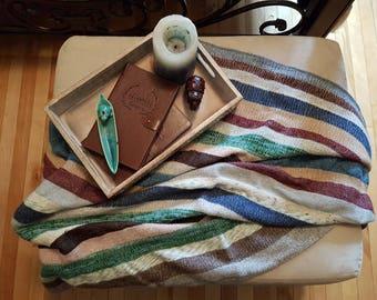 SALE! Vintage blanket, wool blanket, weighted blanket, striped blanket, wool throw 1980's