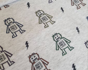 Robot Print Cotton Jersey Fabric, Kids and Baby Fabric. UK Seller