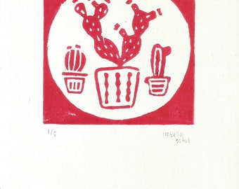 Cactus Illustration - Linoleum Print