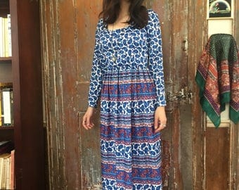60s Paisley Americana Blue and Red Slinky Maxi Dress Size Small