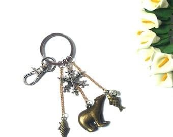Keychain Polar Bear with Fish and Snow Star - Polar Bear Pendant - Keychain Bear - Keychain Animals - Sea Animals - Pendant Snow Star