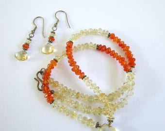 Citrine necklace and earrings set, citrine and carnelian necklace, citrine earrings, vintage citrine necklace and earrings