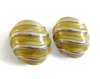 Vintage clip on earrings, yellow clip on earrings, gold and yellow clip on earrings, vintage Barcs clip on earrings