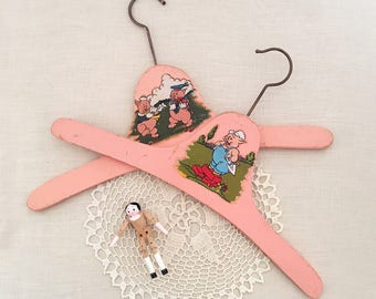 Pair vintage Childrens Coat hangers - coathangers - kids baby doll clothes - nursery rhymes - 40s 50s clothing - three little pigs #0548