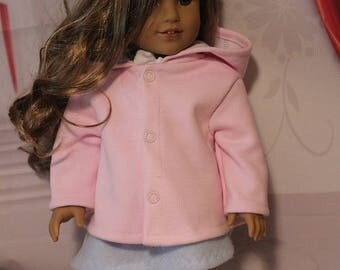 Pink Fall Coat with Hood and Snaps for 18'' Dolls.  (Coat only, American Girl doll is not included) Handmade in the USA.
