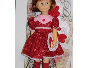 Charmin doll not included.  Be My Valentine Dress with Button Closures. Clothes fit 24' tall dolls. Valentine Heart Toy Clothes