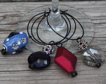 Wine Charms - Magenta Jewel Set