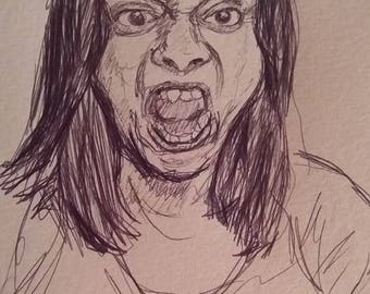 Funny faces drawings, black and white