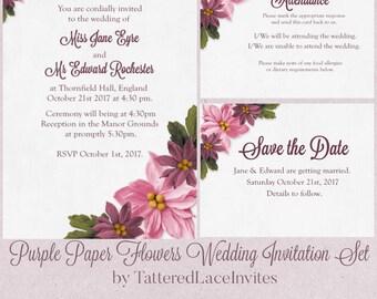 Purple Paper Flowers Wedding Invite Set.