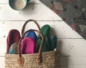 Moroccan shopping basket with leather handle, small size, hand made