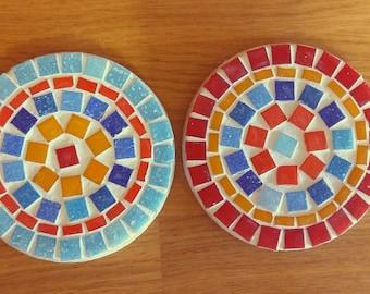 Mosaic round coasters