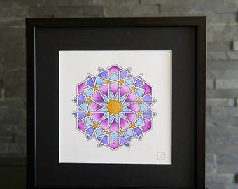 Unique watercolor painting / geometric pattern / gold / precious gift / decoration / art