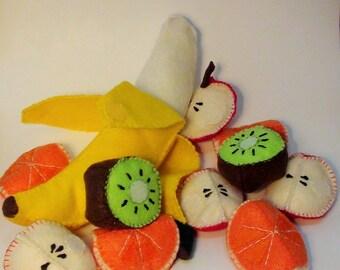 100% wool felt, hand sewn, detachable play fruit set