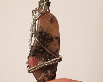 Natural Rhodonite Wire-Wrapped Pendant
