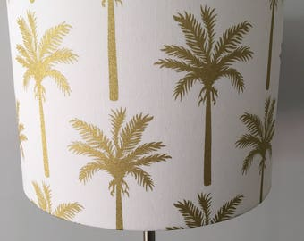 Tropical Palm Tree Fabric Drum Lampshade