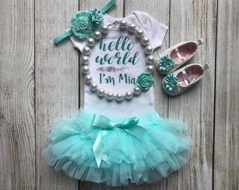 Baby Girl Coming Home Outfit in Aqua / Mint - Personalized Baby Girl Outfit - Girl Hello World Outfit