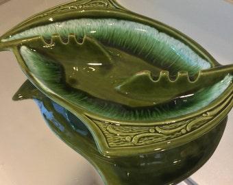 Vintage ceramic ashtray mid century green #576 California Pottery made in USA
