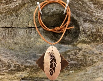 Feather, Handmade Copper Pendent