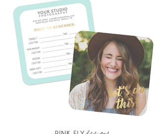 Date Reminder Card   Senior Welcome Packet   5x5 Flat Card   Photographer Template
