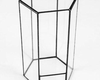 Hexagon Terrarium, Tower Display Case, Tall Terrarium, Geometric Terrarium, Glass Display, Glass Planter, Glass Terrarium