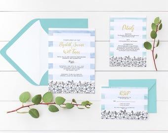 Beach Wedding Invitation Printable | Wishing Well | Water Colour | Personalised | Details Card | Boho | Elegant | RSVP | Frangipani