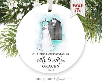 First Married Christmas Ornament Our First Christmas as Mr and Mrs Ornament Newlyweds Ornament First Year Married Ornament Wedding Christmas