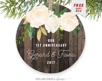1st Anniversary Gift for Wife, Anniversary Christmas Ornament, Our First Anniversary, Christmas Gifts from Husband, Anniversary Gift Couple