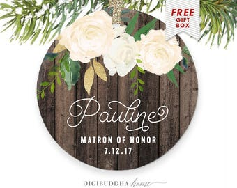 Matron of Honor Ornament, Personalized Christmas Gift from Bride, Wedding Party Gifts, Personalized Matron of Honor Gift, Christmas Ornament