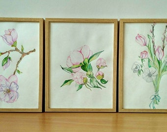 Paintings flowers watercolor