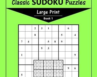 Printable Large Print Classic Sudoku Puzzles - 120 puzzles - Medium - Book 1