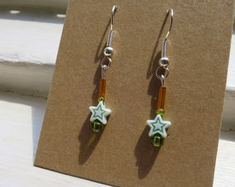 Green Shooting Star Earrings