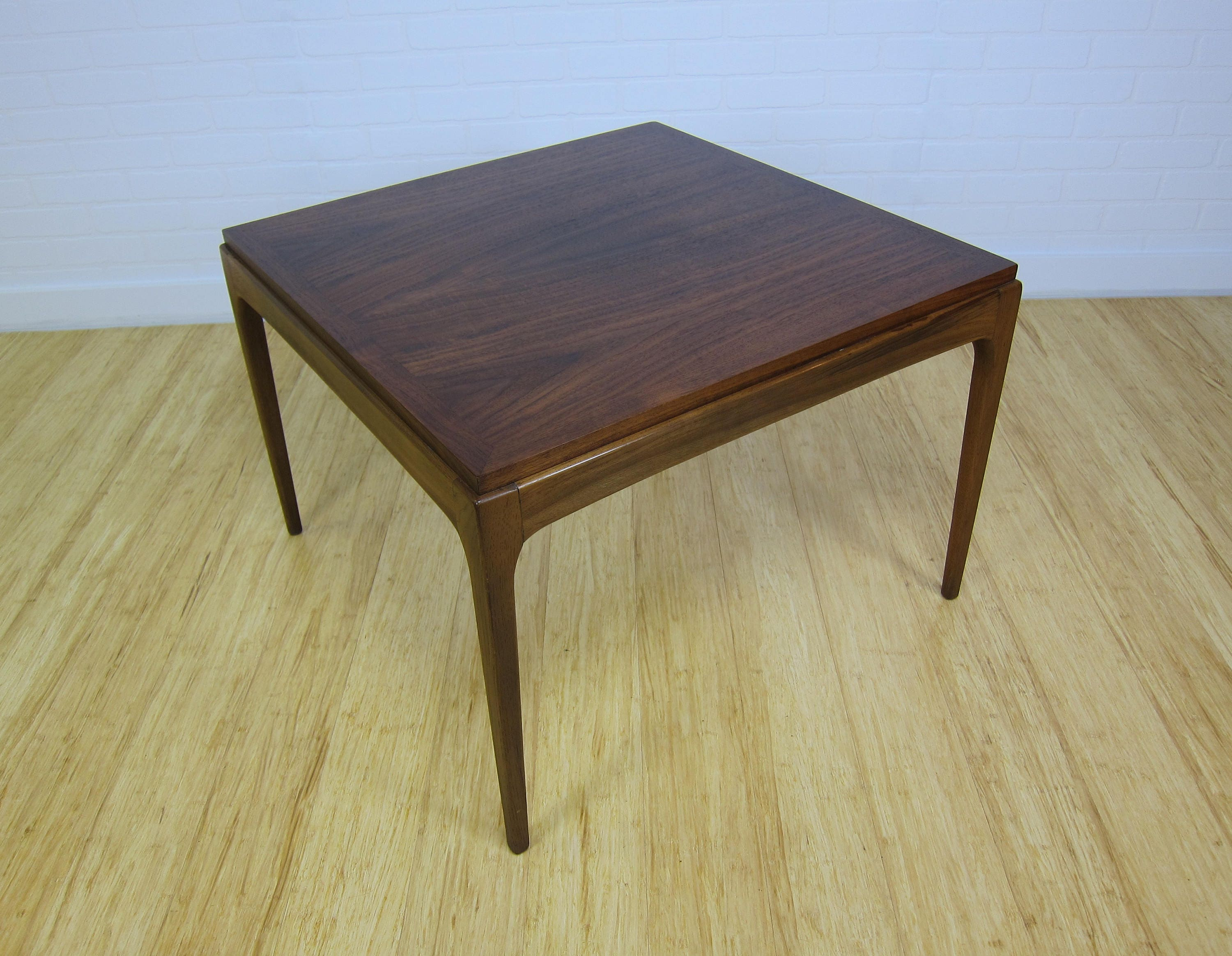 lane rhythm series walnut mid century modern side table