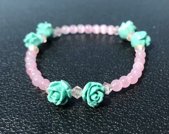 Pink with Green Roses Beaded Bracelet